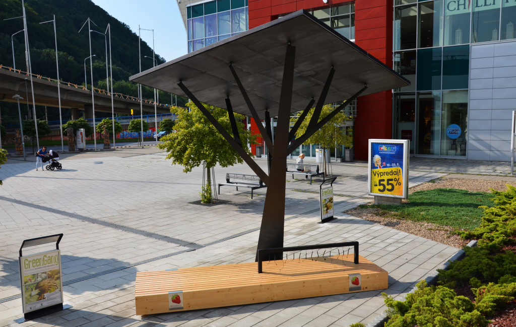 Solar powered Orange Ekostrom by Strawberry energy in Banska Bistrica, Slovakia, offers free energy and connectivity