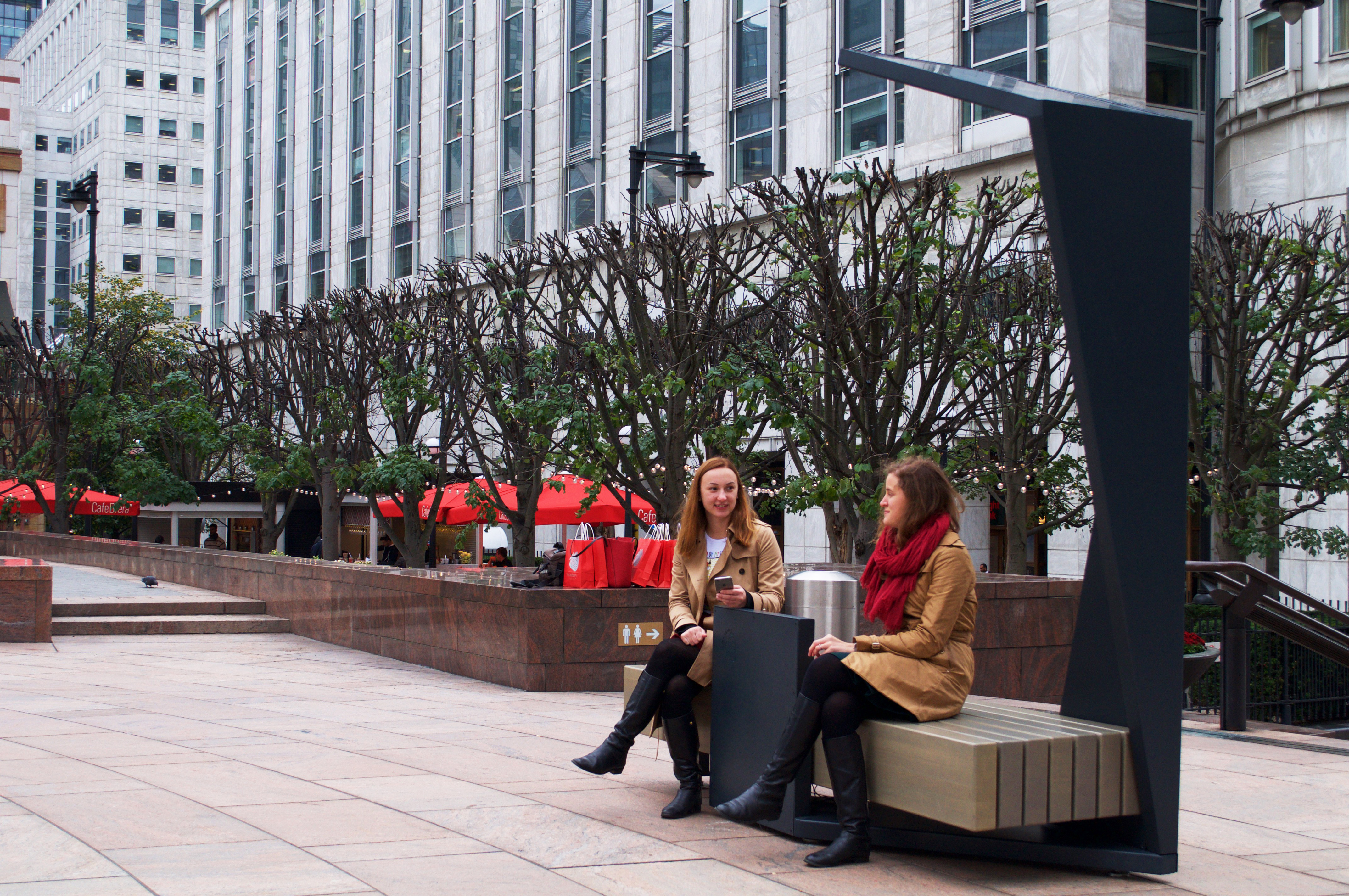 Strawberry Smart Bench in Canary Wharf. Photo credit - Marc Ehrenbold